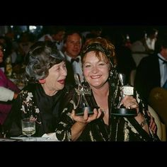 Sheila Florance (Lizzie), left and Val Lehman (Bea), right at the Australian Logie Awards ceremony. Pic is from either 1981 or 1982 Drama Series, Tv Series, Prisoner, Tv Shows, Awards, Image
