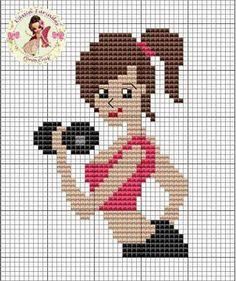 Lady lifting weights x-stitch