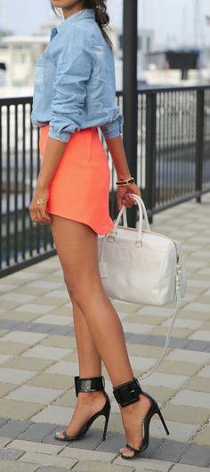 Chambray + bright skirt
