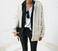 Death by Elocution : Photo Leather fuzzy sweater outfit