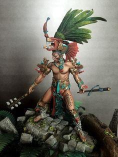 Maya Warrior A.) by Enrico Collenzini · Putty&Paint Anime White Hair Boy, Aztec Statues, Larp, Aztec Tattoo Designs, Ancient Aztecs, Aztec Culture, Aztec Warrior, Mexico Art, Aztec Art