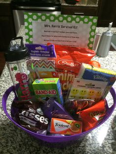 DIY teachers survival kit for back to school. Great idea for a first year teacher or new school!!