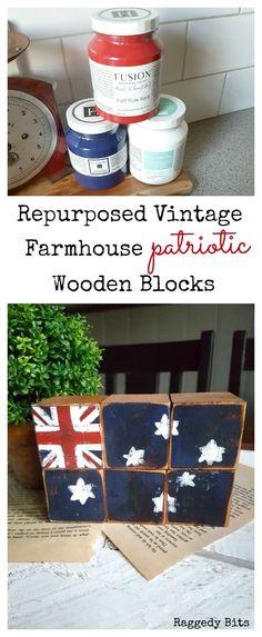 Turn dated wooden blocks into repurposed vintage farmhouse patriotic wooden blocks | full tutorial | www.raggedy-bits.com