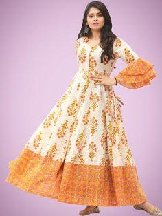 Buy Online Authentic Hand Block Printed Indian Dresses, Ajrakh Dresses at InduBindu. Best collection of Hand Printed Dresses. Cotton Gowns, Cotton Long Dress, Long Gown Dress, Frock Design, Ladies Dress Design, Long Gown Design, Indian Gowns Dresses, Indian Long Dress, Printed Gowns