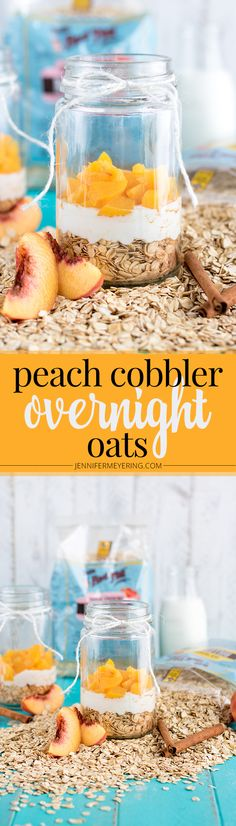 Peach Cobbler Overnight Oats - Short on time in the mornings? Whip up these quick overnight oats for a grab and go breakfast! Overnight Breakfast, Overnight Oatmeal, Breakfast Time, Breakfast Recipes, Second Breakfast, Breakfast Cookies, Breakfast Smoothies, Paleo Breakfast, Brunch Recipes