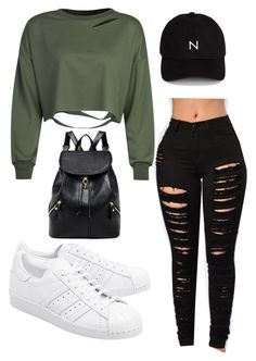"""Selfish"" by yourlovewillneverlast ❤ liked on Polyvore featuring WithChic, adidas Originals and New Black"