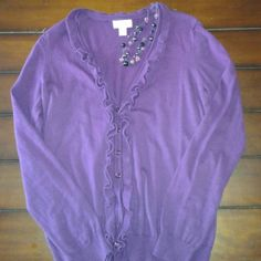 Ann Taylor LOFT cardigan and FREE necklace! Purple ruffled cardigan, perfect for Fall and Winter! Missing a button near the bottom,  not noticeable when wearing it. Will include a matching beaded necklace as shown in the first and last picture. Ann Taylor Sweaters Cardigans