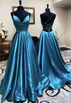 V Neck Backless Teal Long Prom Dresses, V Neck Open Back Blue Formal Evening Dresses Related posts:Simple blue long prom dress, blue bridesmaid dressWomen's Dresses - Gold Pailletten Trägerlos AbendrobeSource by Kleider. Pretty Prom Dresses, Simple Prom Dress, Blue Evening Dresses, Winter Formal Dresses, A Line Prom Dresses, Beautiful Dresses, Teal Prom Dresses, Dress Prom, Evening Gowns
