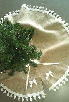 Burlap Christmas Tree Skirt Burlap Tree By Ajrusticcreations