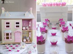 The doll house was present and the furnish was used in this doll house themed party