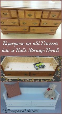 How to make a repurposed dresser bench out of an old dresser. Perfect for the kids-a bench with storage.