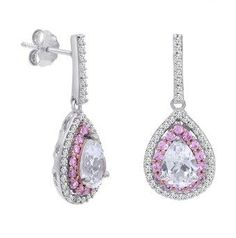 Amanda Rose Collection Lab Grown Pink And White Sapphire Dangle Tear Drop Earrings In Sterling Silver.