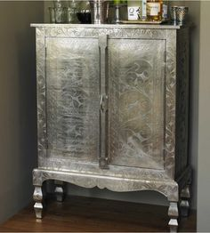 German Etched Silver Armoire with reclaimed wood doors