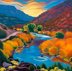 """Fall Colors, October on the Rio Grande"" Tracy Turner New Works Gallery Landscape Art, Landscape Paintings, Landscapes, Turner Artworks, Southwestern Art, Mexico Art, Native American Artists, Wow Art, Rio Grande"