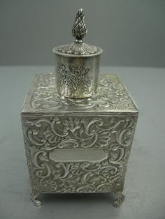 Antique English sterling silver tea caddy c 1900 (Cheryl Peay, please be kind enough NOT to repin this to this board!)
