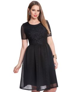 Mesh and Lace Flared Dress