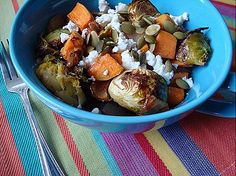 EASY balsamic brussel sprouts with maple cinnamon roasted vegetables.