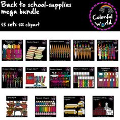 Back to school clipart-Mega bundle Back To School Clipart, Book Clip Art, Back To School Supplies, Brush Set, Love Is All, High Quality Images, Markers, Color, Sharpies