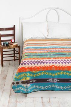 bright colored striped & geometric blanket