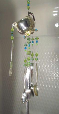 Silverware Wind Chime ON SALE Handmade by passingtimeandchimes Mobiles, Metal Crafts, Diy Crafts, Diy Wind Chimes, Crystal Wind Chimes, Silverware Art, Spoon Art, Yard Art, Suncatchers