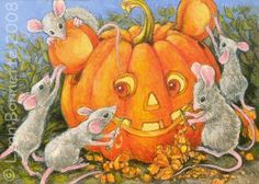 Pumpkin Carving Mice by Lynn Bonnette