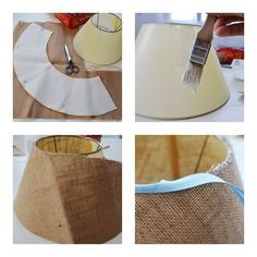 {DIY}: Vero Palazzo - Home Deco Shabby Chic Lamp Shades, Rustic Lamp Shades, Burlap Lamp Shades, Diy Arts And Crafts, Home Crafts, Diy Home Decor, Creation Bougie, Colorful Lamp Shades, Diy Luminaire