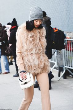 New_York_Fashion_Week-Street_Style-Fall_Winter-2015-Lily_Kwong-Fur_Vest-Beanie-