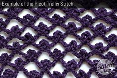Skill: Easy  Foundation Chain: Multiples of 5 + 2    TECHNIQUES USED IN THIS STITCH:  Chain Stitch – ch  Single Crochet – sc  Double Crochet – dc  Pattern Instructions:    Row 1: 1 sc into 2nd ch from hook, *5 ch, skip 4 ch, 1sc into next ch; rep from *to end, turn.    Row 2: *5ch, work a picot of [1sc, 3ch, 1sc] into 3rd ch of next 5ch arch; Rep from * ending 2ch, 1dc into last sc, skip tch, turn.    Row 3: 1ch, 1sc into first st, *5ch, skip picot, picot into 3rd ch of next 5ch arch; Rep…