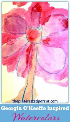 Georgia O'Keefe inspired watercolor paintings for kids - exploring art history & famous artists