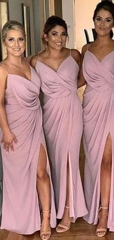 Popular Side Slit Spaghetti Straps Dusty Pink Cheap Bridesmaid Dresses Online,WG759 #bridesmaid #wedding #bridesmaiddresses #cheapbridesmaiddresses #weddingidea #bridesmaidsdresses Dusty Pink Bridesmaid Dresses, Cheap Bridesmaid Dresses Online, Cheap Homecoming Dresses, Bridesmaids, Side Slit Dress, Wedding Party Dresses, Dress Backs, Dream Dress, Dress Making