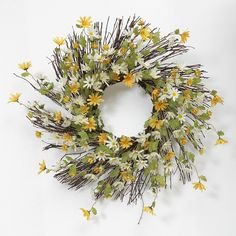 Daisy Natural Twig Wreath, Brown