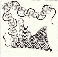 Ein Zentangle aus den Mustern Hillndale, Intertwine, Jaracu, Nuwave gezeichnet von Ela Rieger, CZT