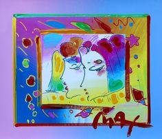 Two Profiles, Original Mixed Media Painting, Peter Max