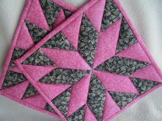 Pink and Gray Quilted Potholders  Set of 2 by KraftyGrannysHome, $15.50