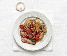 <p>Rib-Eye Steak With Tomato Vinaigrette and Smashed Potatoes</p>