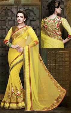 Picture of Charming Yellow Wedding Saree