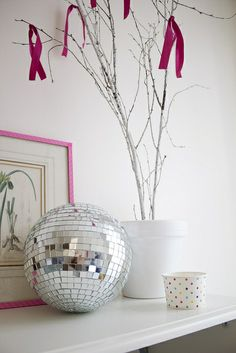 I really do need a disco ball. Boogie Wonderland, Painted Branches, Woman Cave, Beautiful Interior Design, Sticks And Stones, Disco Ball, Simple Style, Diy Art, Furniture Decor