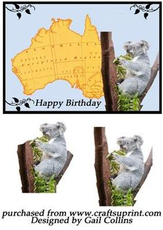 Australia on Craftsuprint designed by Gail Collins - a card with a cute koala…