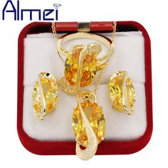 Find More Jewelry Sets Information about Almei 18K Gold Plated Big Yellow Crystal Jewerly Sets for Women Ladies Wedding CZ Diamond Zirconia Necklace Earrings Ring T Y182,High Quality set timing,China set digital Suppliers, Cheap set bowling from Almei Jewelry Store on Aliexpress.com