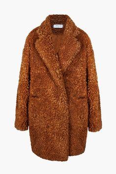 Paisie Women's Fluffy Teddy Bear Coat - Brown/Bronze