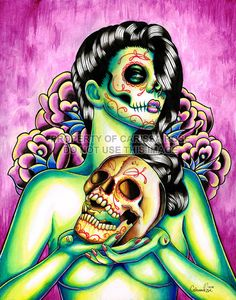 Day of the Dead Pin Up Girl With Sugar Skull  by NeverDieArt, $10.00