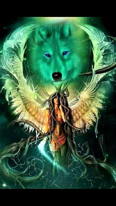 I incredibly am keen on the different colors, outlines, and depth. This really is an amazing artwork if you are looking for a Native American Wolf, Native American Pictures, Native American Artwork, American Indian Art, Dark Fantasy Art, Fantasy Wolf, Wolf Images, Wolf Pictures, Wolf Love