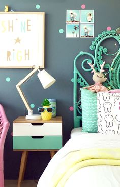 SO much fun!!! Tropical inspired - pineapple, palm trees, sunglasses. Colourful interiors / bright bedroom.