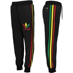 Adidas Original Mens Mega Rasta Fleece Track Pants Jamaica Black Gold... ❤ liked…