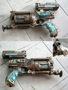Nerf Maverick Steampunk Mod by *aimeekitty - I WANT this!it matches the colour of my blue steampunk corset.and a girl just has to have a co-ordinating Nerf you know! Arma Steampunk, Steampunk Shop, Costume Steampunk, Steampunk Accessoires, Mode Steampunk, Steampunk Weapons, Style Steampunk, Steampunk Gadgets, Steampunk Design