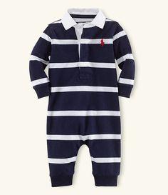 French Navy/Multi:Ralph Lauren Childrenswear Baby Boys 3-9 Months Rugby-Stripe Coveralls