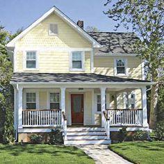 Farmhouse Exterior Renovation White Trim Ideas For 2019 Yellow House Exterior, Exterior Paint Colors For House, Paint Colors For Home, Exterior Colors, White Porch, White Shutters, House Paint Color Combination, Yellow Cottage, Farmhouse Renovation