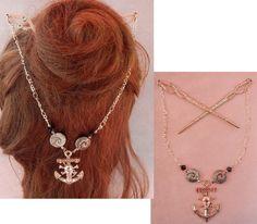 Pirate Hair, Pirate Skull, Sugar Skull Decor, Sugar Skull Art, Barrette, Whimsical Hair, Pirate Jewelry, Celtic Knot Necklace, Hair Sticks