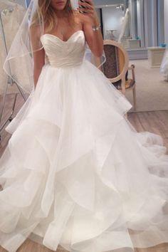 New Arrival Sleeveless Tulle Wedding Dress,Ruffles Bridal Dress