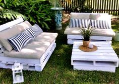 Furnish your outdoor spaces from our stylish array of patio furniture. Shop patio sets, lounge furniture, outdoor furniture pieces, accessories and Outdoor Furniture Plans, Diy Pallet Furniture, Lounge Furniture, Recycled Furniture, Furniture Projects, Garden Furniture, Furniture Nyc, Office Furniture, Furniture Design